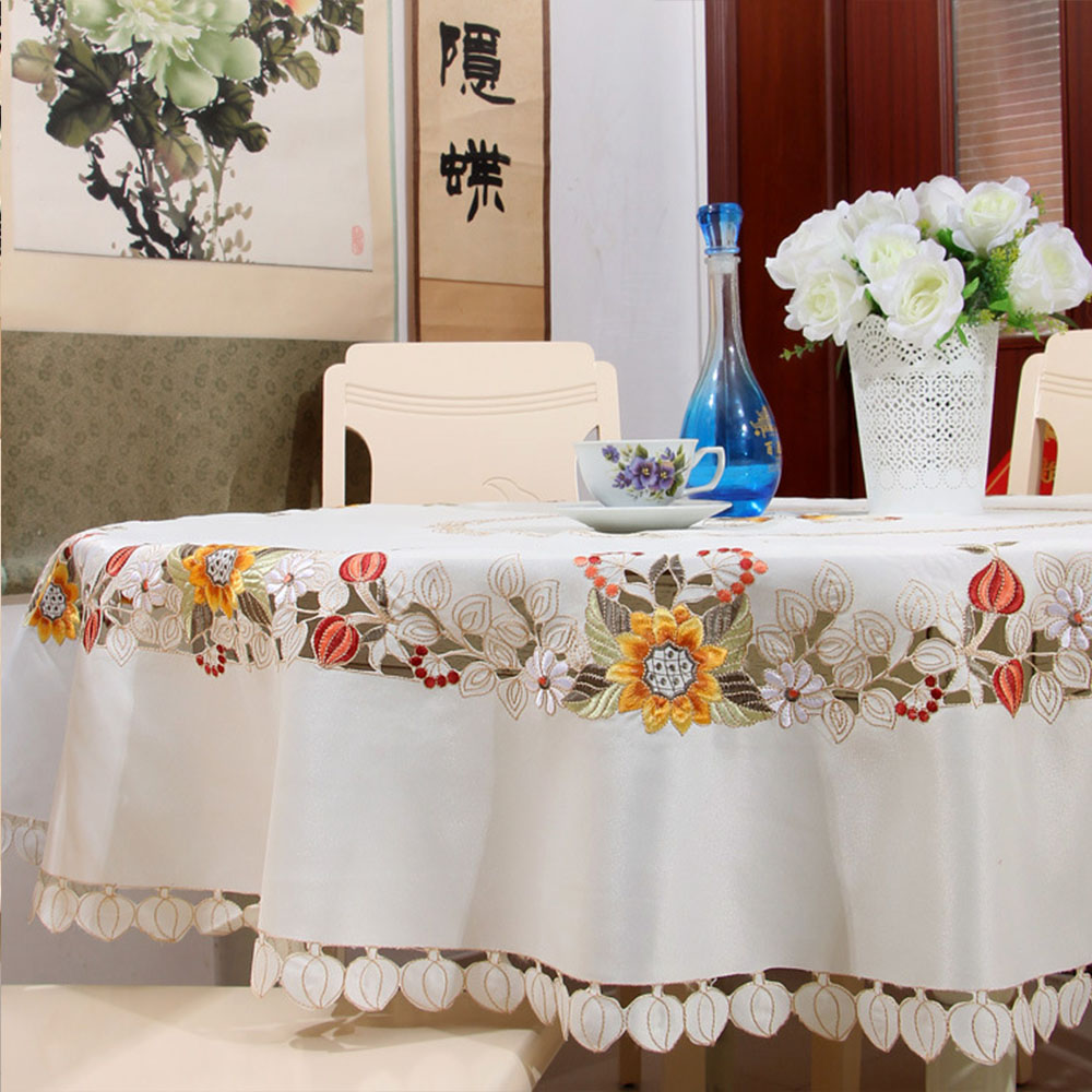 Yazi Embroidered Beige Sun Flower Round Tablecloth Cutwork Rhaliexpress: Home Decor Tablecloth At Home Improvement Advice