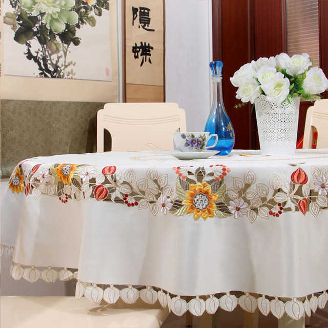 yazi embroidered beige sun flower round tablecloth cutwork