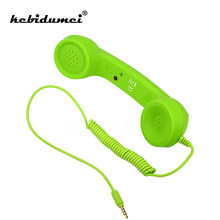 kebidumei 3.5mm Retro Telephone Handset Radiation-proof adjustable tone Cell Phone Receiver Microphone Earphone Only for iPhone(China)