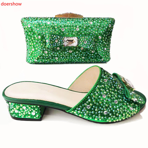 doershow Latest GREEN African Shoes And Bag Set For Party High Quality Italian Ahoes And Bags To Match Women!!!HYO1-3 стоимость