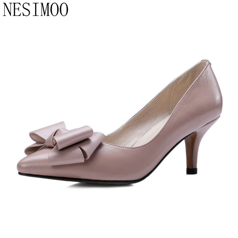 NESIMOO 2018 Women Pumps Pointed Toe Thin High Heel Genuine Leather Butterfly-Knot Ladies Wedding Shoes Slip on Size 34-39 esveva 2017 ankle strap high heel women pumps square heel pointed toe shoes woman wedding shoes genuine leather pumps size 34 39