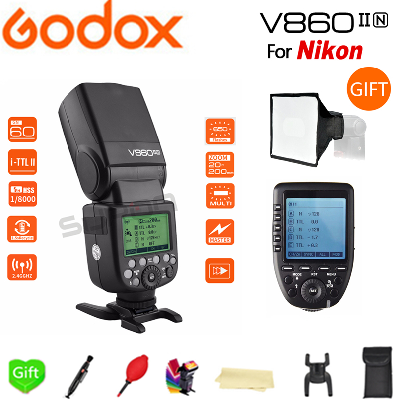 <font><b>Godox</b></font> Li-ion Battery Flash Speedlite V860II-N GN60 i-TTL HSS 1/8000s Flash + Xpro-N Speedlite trigger +gift kit for Nikon image