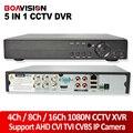 5 EM 1 CVI TVI AHD Segurança NVR 4Ch 8Ch 16Ch CVBS 1080N DVR CCTV NVR XVR Híbrido Visão Gravador de Vídeo 1080 P P2P Onvif Max 4 TB