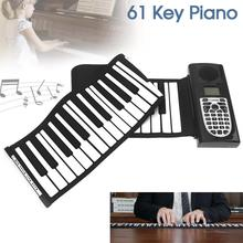 61 Keys USB MIDI Output Roll Up Piano Electronic Portable Silicone Flexible Keyboard Organ with Built-in Speaker