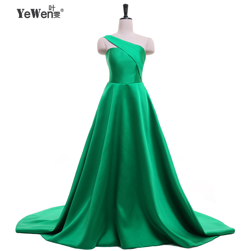 YEWEN New Design One-Shoulder Green   Evening     Dresses   Women Celebrity Prom Party   Dress   2019 Sleeveless Bodycon Bandag Vestido
