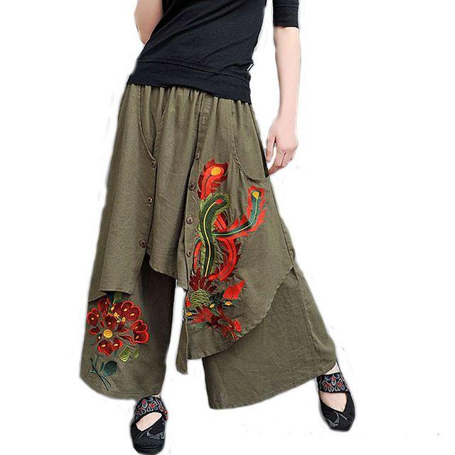 #2002 2017 Embroidery floral Casual Fashion Wide leg pants Skirt pants women Linen pants Pantalon mujer Loose Pantalon femme