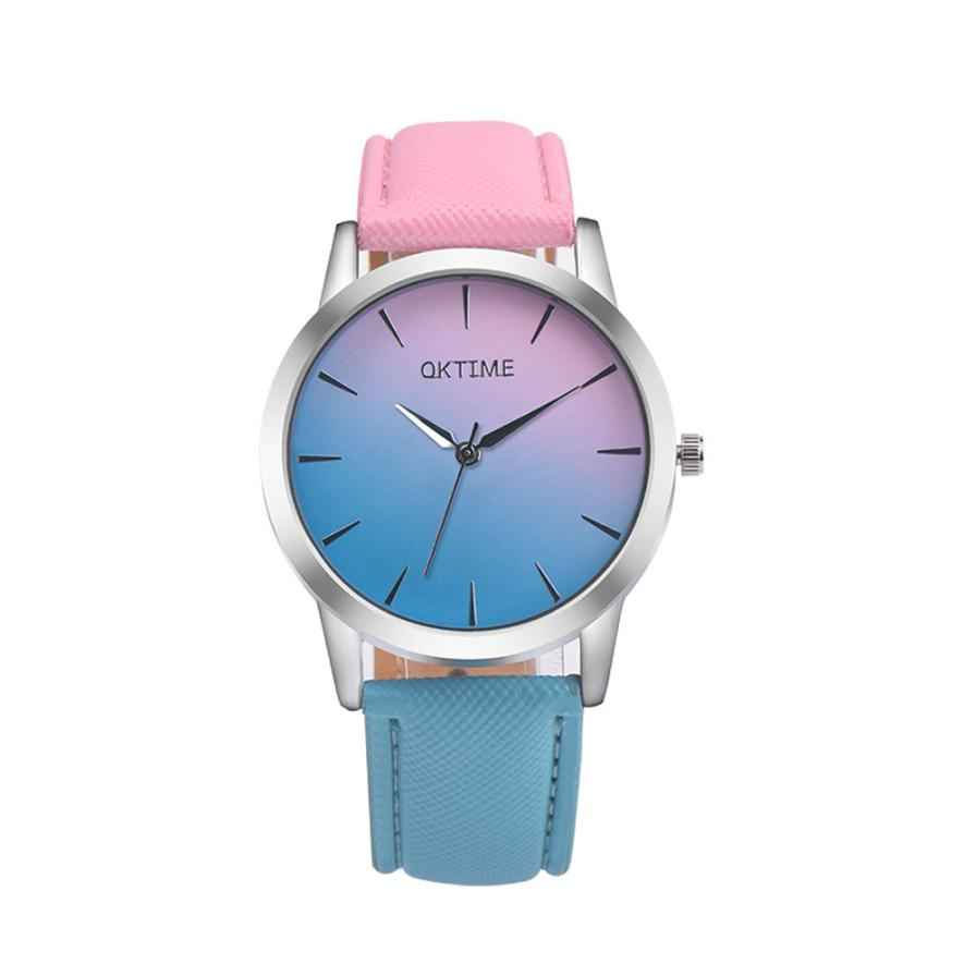 Fashion Quartz Watch Rainbow Design with Leather Band