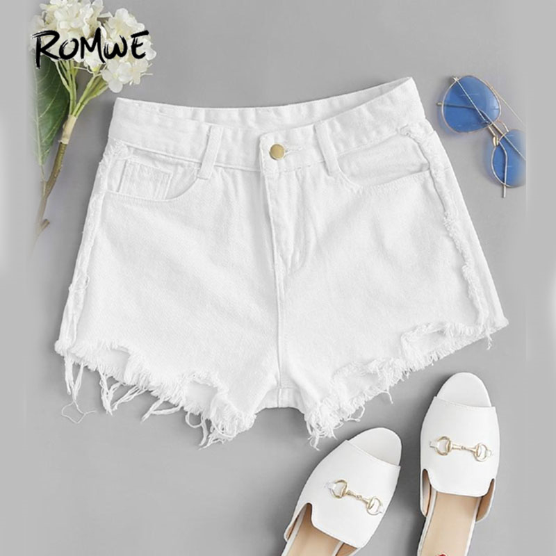 ROMWE Beige Frayed Hem Ripped Denim   Shorts   Women Summer Fashion Beach Wear   Shorts   Plain Dual Pockets Jeans   Shorts