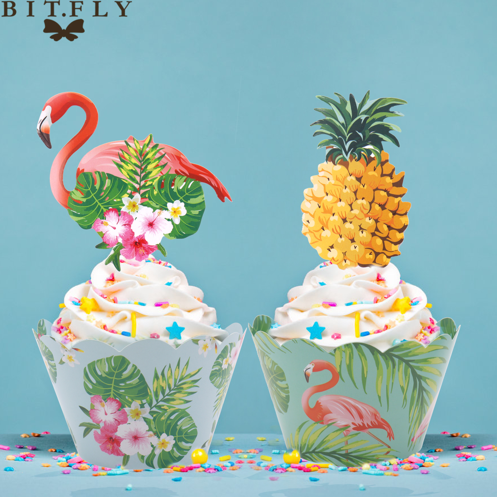Fabulous 24Pcs Set Hawaii Party Flamingo Cupcake Wrapper Turtle Leaf Funny Birthday Cards Online Overcheapnameinfo