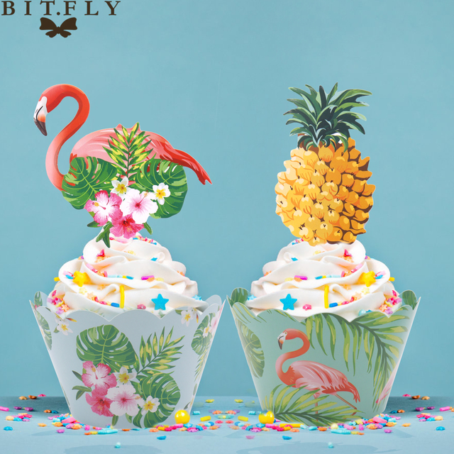 24pcs Set Hawaii Party Flamingo Cupcake Wrapper Turtle Leaf Pineapple Cake Topper Wedding Birthday Decor