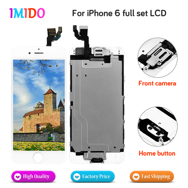 10Pcs Full Set LCD Display For iPhone 6 LCD Touch Screen Home button Front camera No