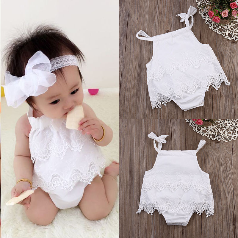 0868410f2f4 2016 Sleeveless Baby Girl White Infant Romper Cotton Lace Clothing Jumpsuit  Outfit Birthday Party Clothes(