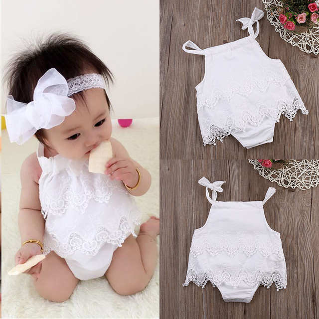 2166e850c25d Online Shop 2016 Sleeveless Baby Girl White Infant Romper Cotton Lace  Clothing Jumpsuit Outfit Birthday Party Clothes