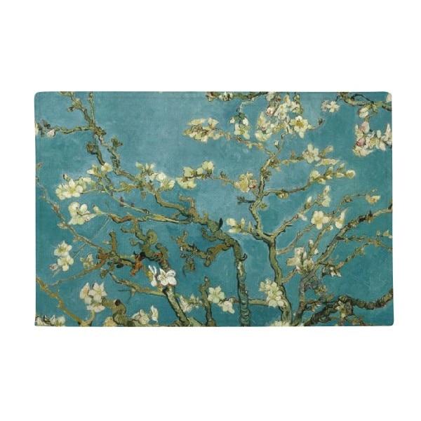 Apricot Blossom Vincent Van Gogh Oil Painting Anti-slip Floor Mat Carpet Bathroom Living Room Kitchen Door 16x30Gift