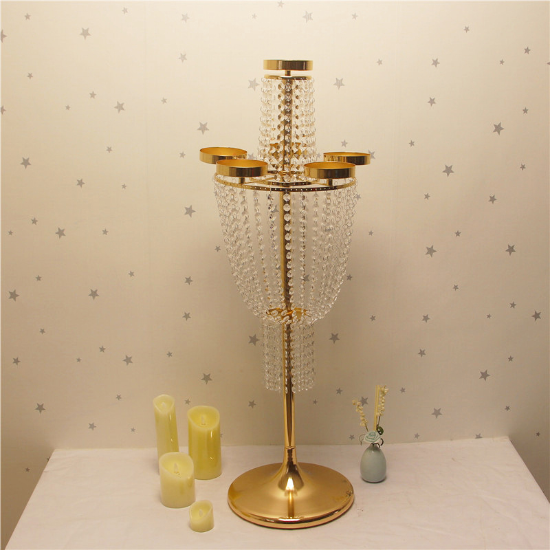 Peandim 100cm Tall Acrylic Candlestick Wedding Flowers Rack Gold Candelabra Centerpieces For Wedding Party Event Decor 4pcs/lot Home & Garden