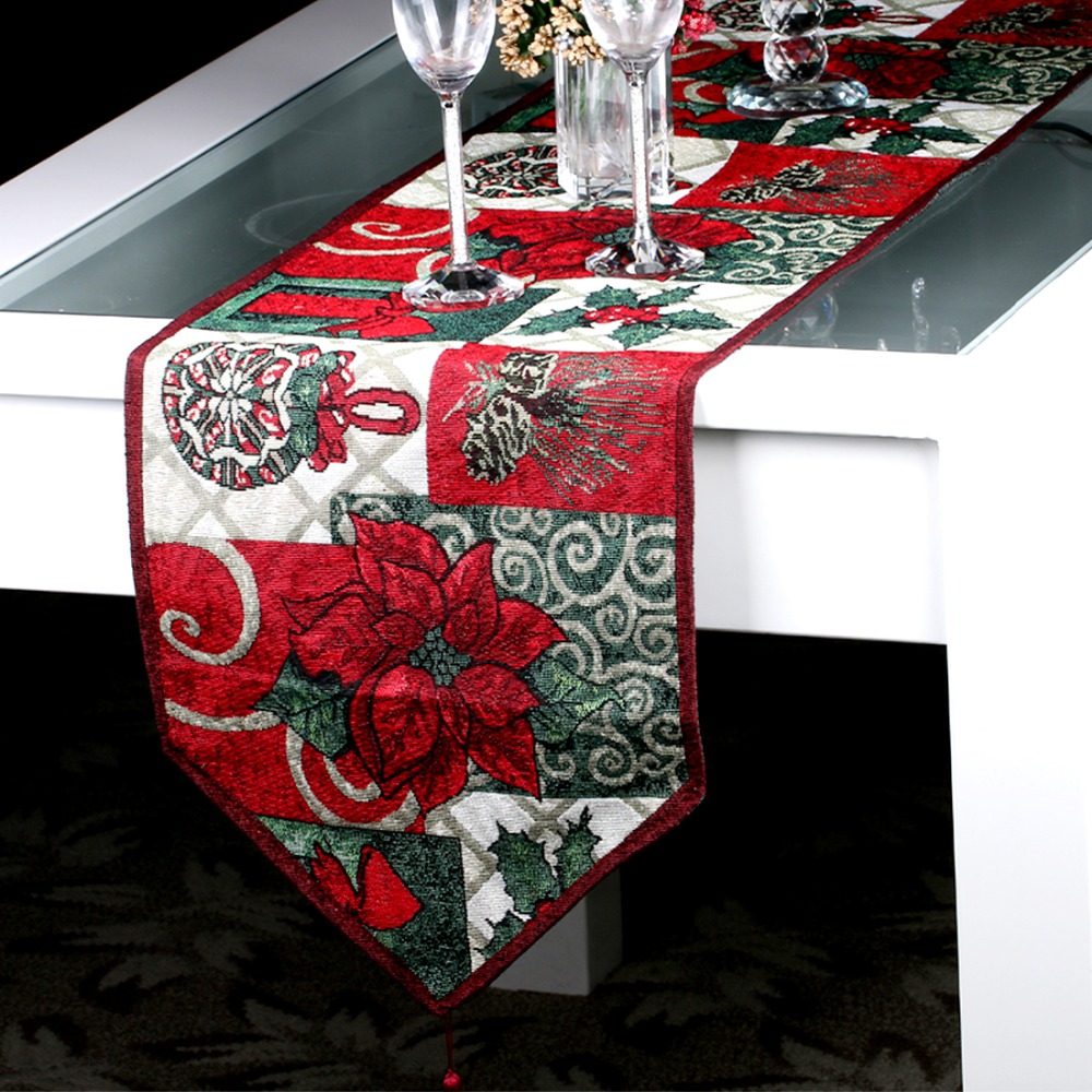Delightful Christmas Style Table Runner For Wedding Bed Runner New Year Christmas Table  Decoration Tapestry Table Cloth