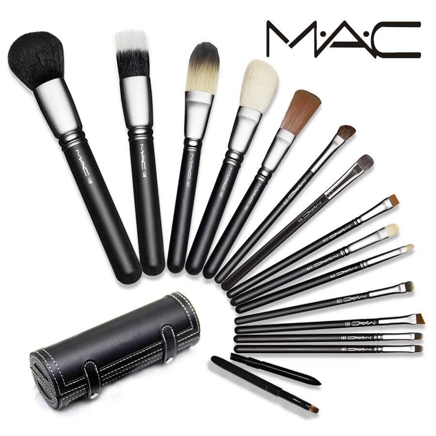 MAC Pro 16 pcs Maquillage Ensemble Poudre Eye Foundation ombre à paupières Make Up Bru Cosmétiques Souple Synthétique Cheveux Avec PU En Cuir cas