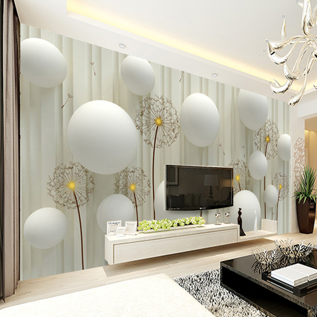 Dandelion Dengan Romantis Bola Foto Wallpaper Ruang Tv Dinding Latar Belakang