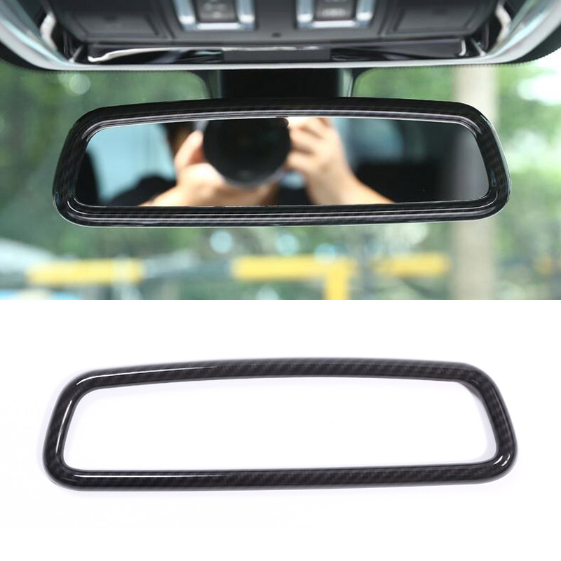 Carbon Fiber Style Plastic Interior Rearview Mirror Frame Trim For Land Rover Discovery 4 Range Rover Sport Evoque Car Accessory