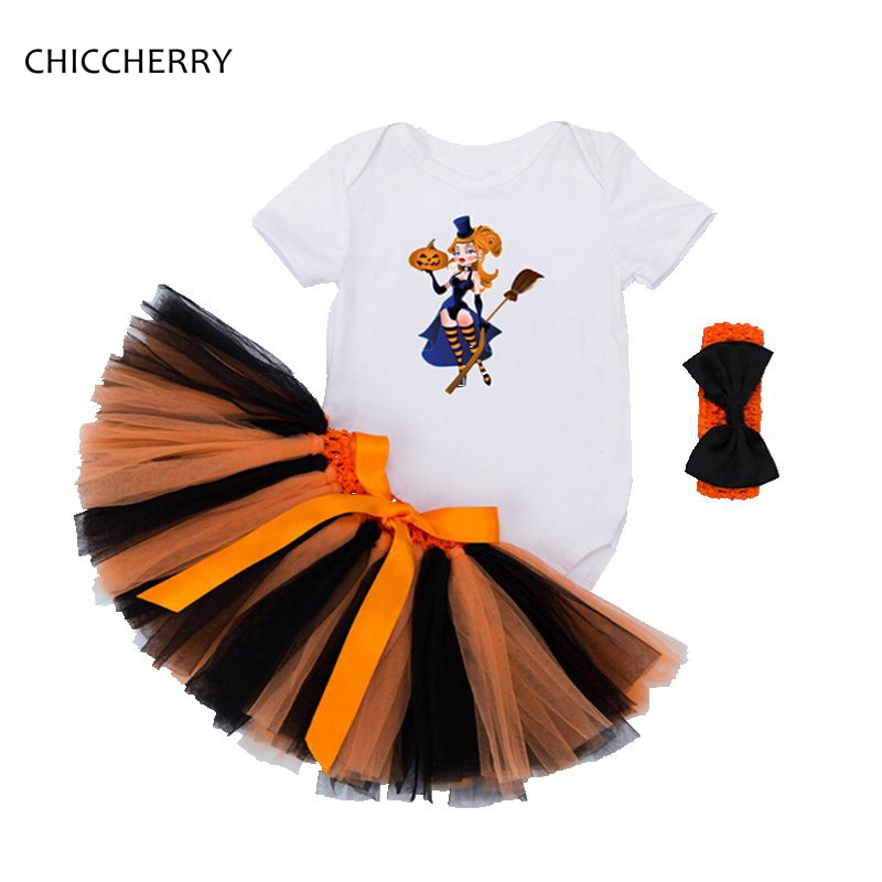 The Little Witches Baby Halloween Costumes Short Sleeve Bodysuit Lace Tutu Skirt Headband Outfit 3PCS Sets 0 24M Infant Clothing