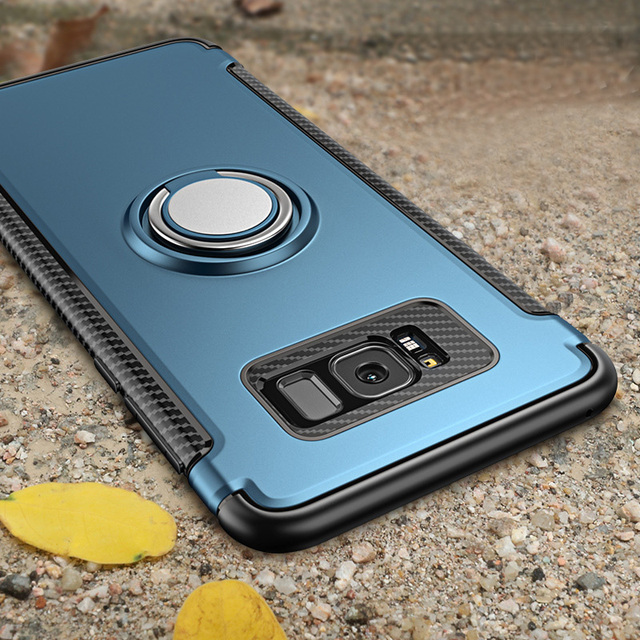 new style 1deb2 a68a8 US $4.23 |Kasatin Ring Case For Samsung Galaxy S7 Edge S8 Plus Note 8  Silicone + PC Hybrid Armor Cover Phone Stand Holder In Car Coque-in Fitted  Cases ...