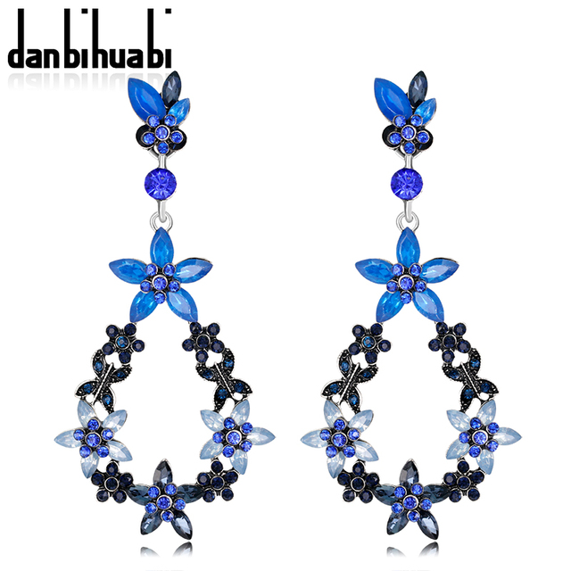 Fashion Indian Earrings Bridal Jewelry Trendy Rhinestone Blue Crystal Drop  Earrings with Stones Earring Jewelry for 1707b2eb0dc0