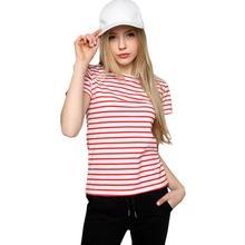 Yfashion Women Fashion Short-sleeved Soft Cotton Slim Fit Striped T-shirt