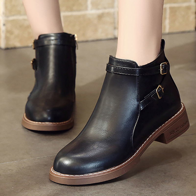 Women boots basic style Martin boots ankle strap short plush pointed toe leather boot winter ladies shoes plus size 35-40 pu pointed toe flats with eyelet strap