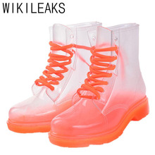Women's Transparent Martin Rain Boots Shoes Ladies Waterproof Clear Crystal Jelly Rain Shoes Water Shoes Botas Lluvia Mujer