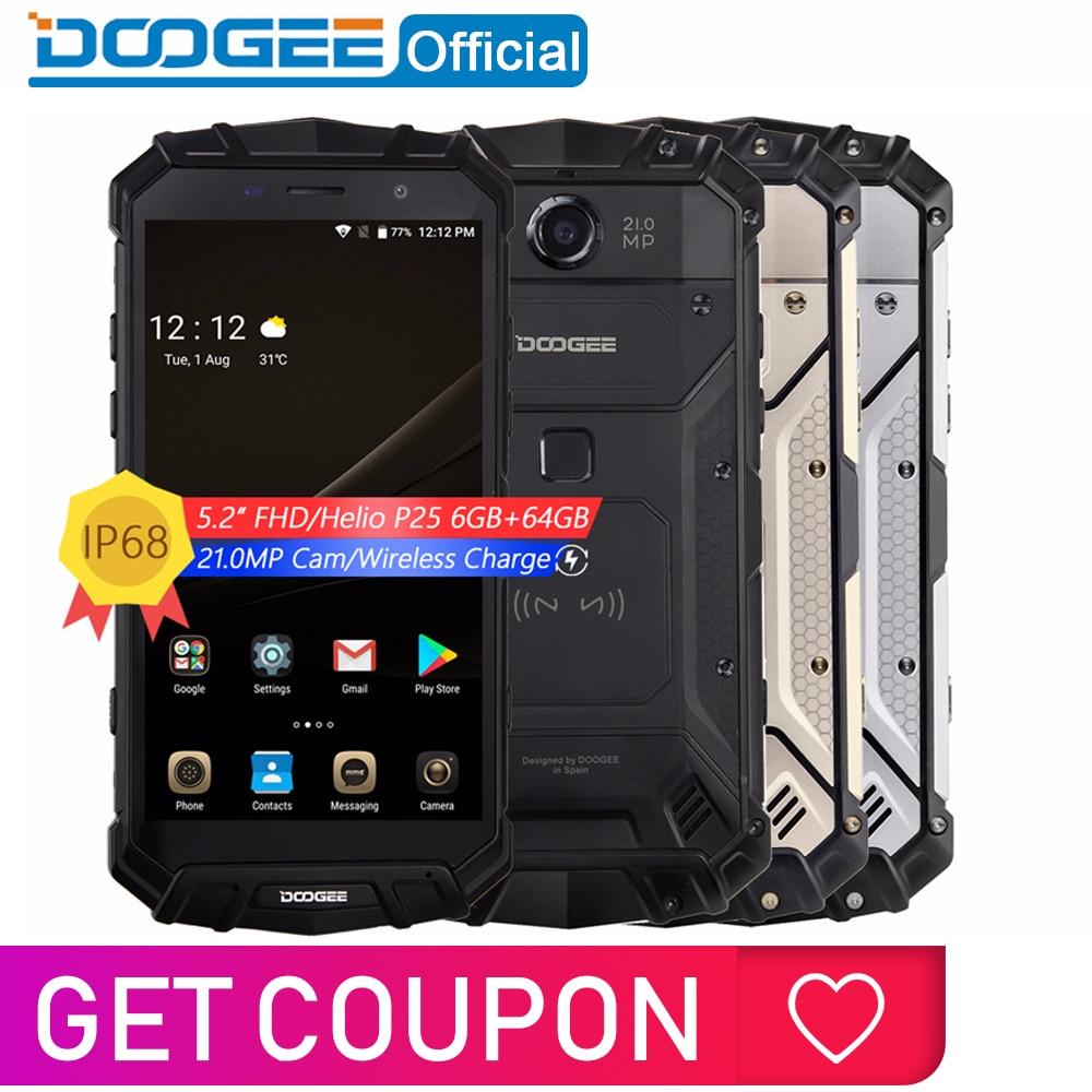 Real IP68 DOOGEE S60 12V2A Carga Rápida de Carga Sem Fio 5580 mAh 5.2 ''FHD Helio P25 Octa Núcleo 6 GB 64 GB Smartphones Câmera 21.0MP