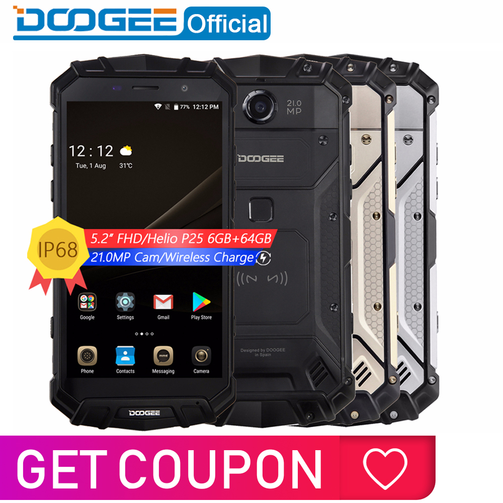 Véritable IP68 DOOGEE S60 Charge sans fil 5580 mAh 12V2A Charge rapide 5.2 ''FHD Helio P25 Octa Core 6 GB 64 GB Smartphone 21.0MP caméra