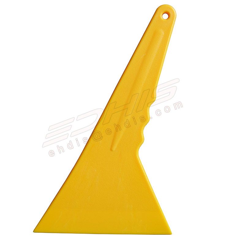 1Pc Yellow Plastic 20*12cm Triangle Scraper With Long Handle Vinyl Film Glue  Removing Industry