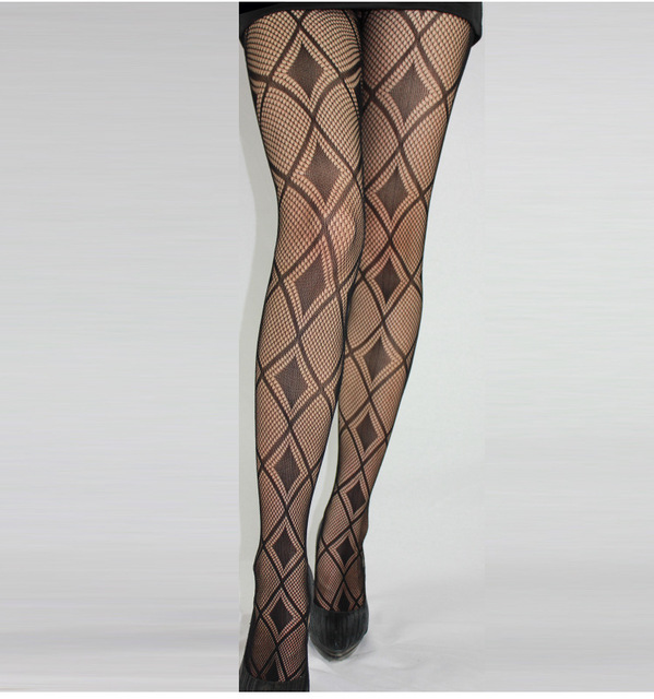 Black Sexy Fishnet Pattern Jacquard Stockings Pantyhose Tights  skull Woman 1pcs dww36 2