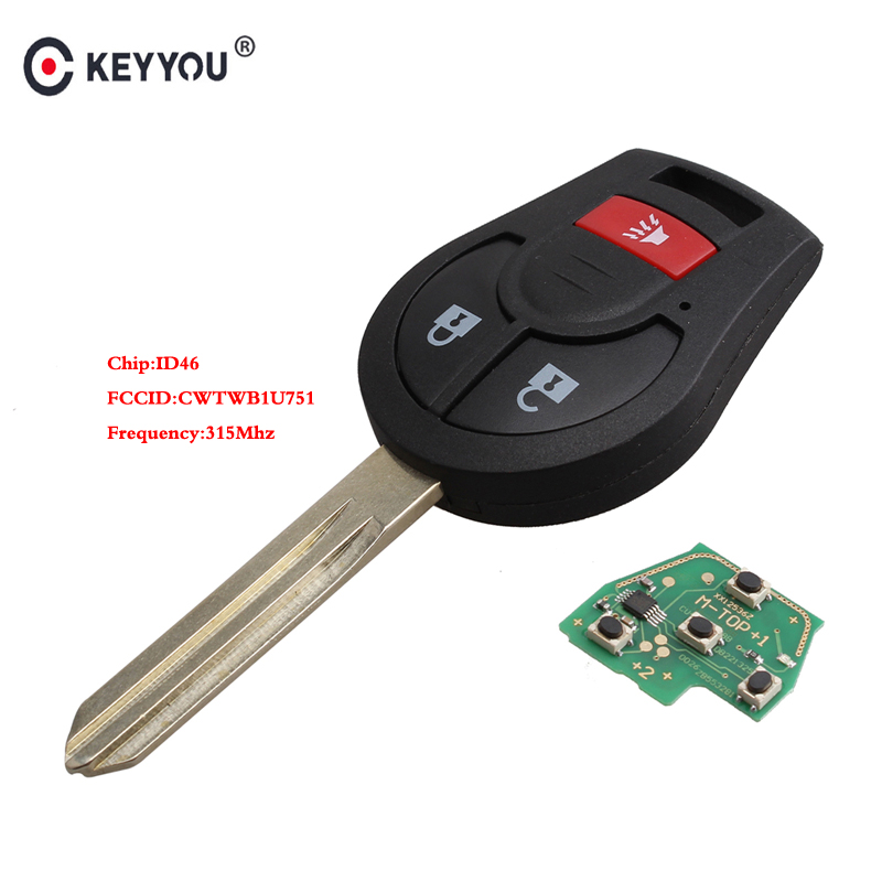 KEYYOU 315Mhz CWTWB1U751 Remote Control key For Nissan Rogue Versa 2008 2009 2010 2012 2013 2014 2015 2016 With ID46 ChipKEYYOU 315Mhz CWTWB1U751 Remote Control key For Nissan Rogue Versa 2008 2009 2010 2012 2013 2014 2015 2016 With ID46 Chip