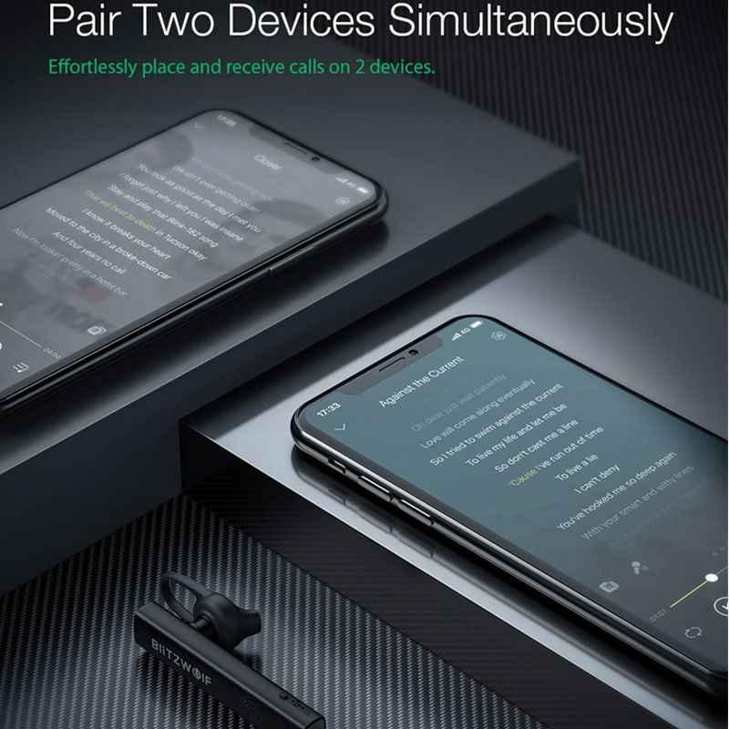 Blitzwolf BW-BH1 Draadloze Bluetooth Oortelefoon Hifi Mini Licht Smart Touch Hd Gesprekken Noise Cancelling Enkele Oordopjes Headset