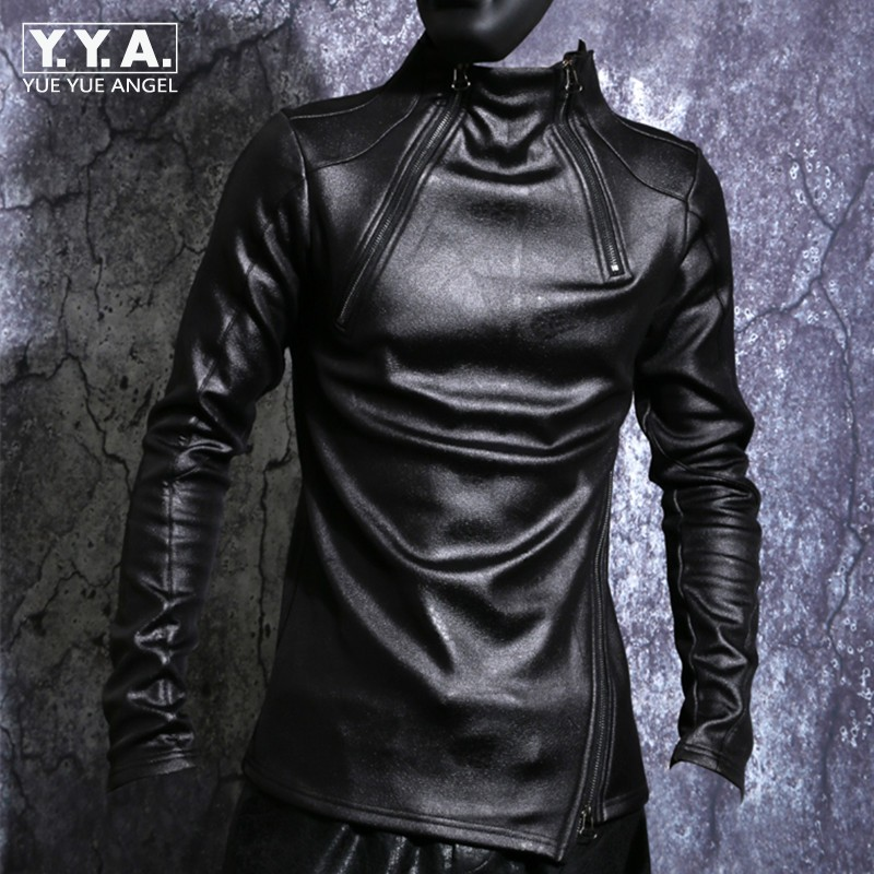 Autumn Winter Men Stand Collar Warm Fleece Lining Jacket Pullover Gothic Slim Fit Punk Coat Black Motorcycle Pu Leather Jacket