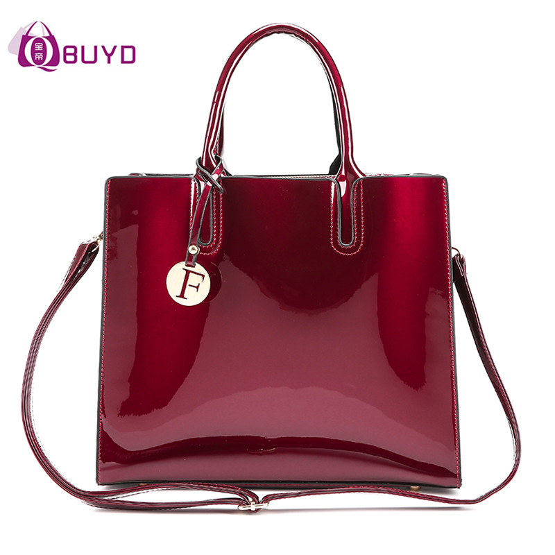 Solid Patent Leather Women Fashion Bags 2018 Ladies Simple Luxury Handbags Casual Shoulder Messenger Mummy Bags Sac A Main Totes women bright solid genuine leather bags ladies super luxury brand handbags casual chain shoulder messenger bags purse sac a main