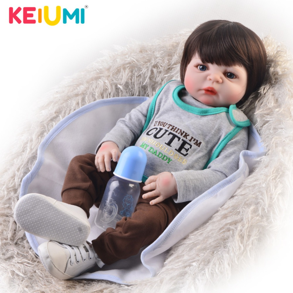 Новый Дизайн 23 дюймов возрождается мальчик Живой куклы полный силиконовый корпус парик реалистичные новорожденных куклы для детей день по...