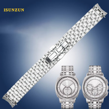 купить ISUNZUN Hot Sale Watch Strap 20mm for Tissot 1853 T059 Silver Colord Durable Stainless Steel Watch Band For Tissot T059507A/528A по цене 4383.98 рублей