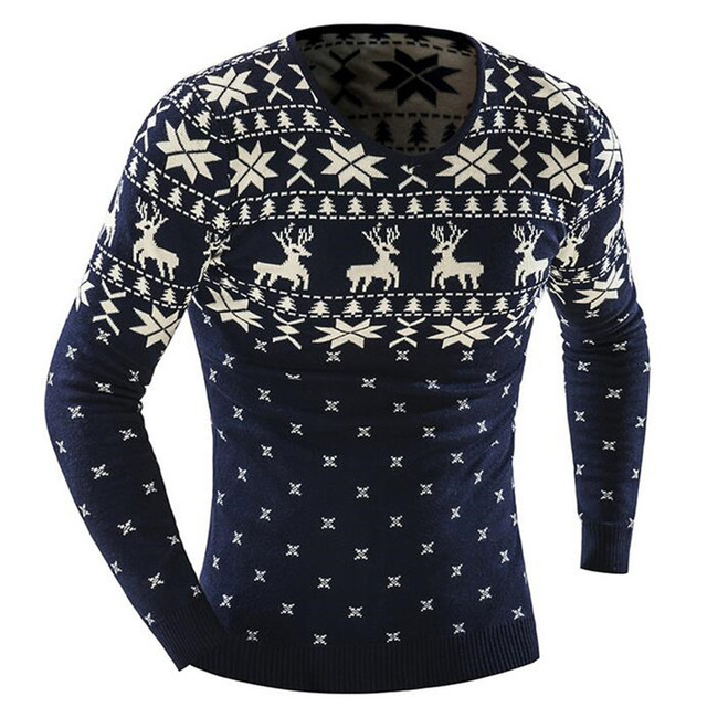 2016 O-Neck Sweaters Stylish Deer Animal Print Knitted Long Sleeve Sweater Men Sweater Male Sweaters Pullover-Size XXL