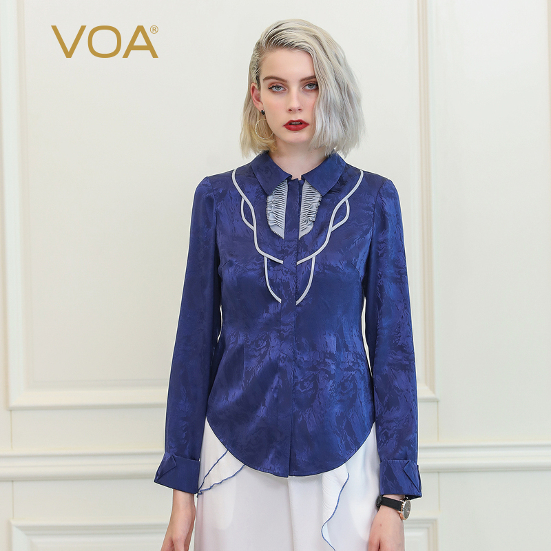 voa office work ladies silk blouse navy blue chinese