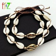 F.J4Z Hot Fashion Beige Rope Chain Natural Seashell Choker Necklace Collar Necklace Shell Choker Necklace for Summer Beach Gifts