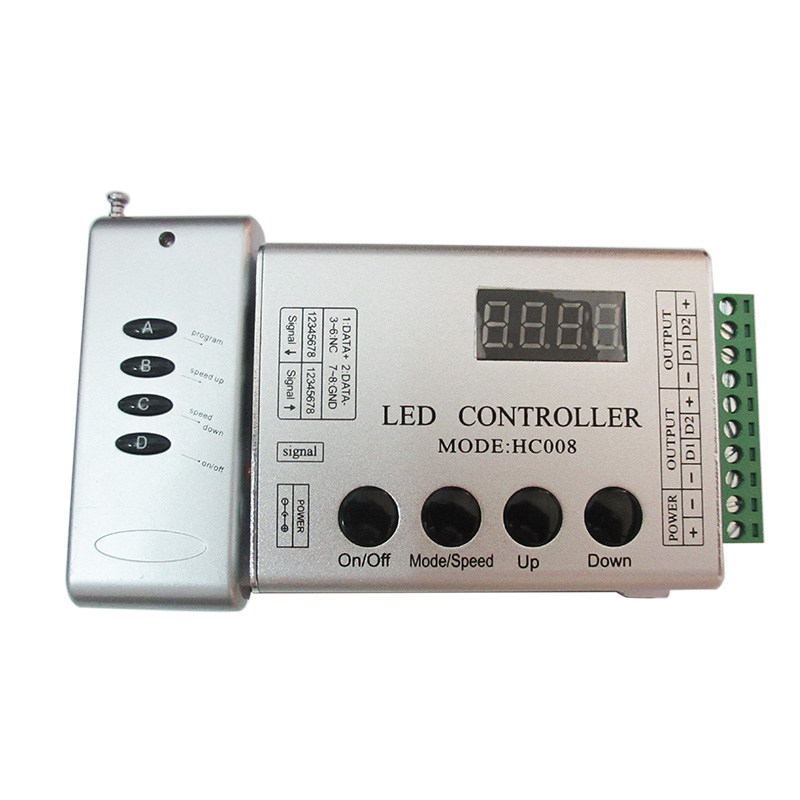 DC5-24V programmable RGB/RGBW 2048 pixel led controller HC008 133 effect modes 4Keys for WS2812 WS2811 magic color Strip Light