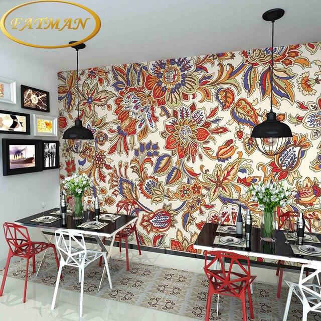personnalis photo papier peint 3d abstrait peint style ethnique exotique motif de papier peint. Black Bedroom Furniture Sets. Home Design Ideas