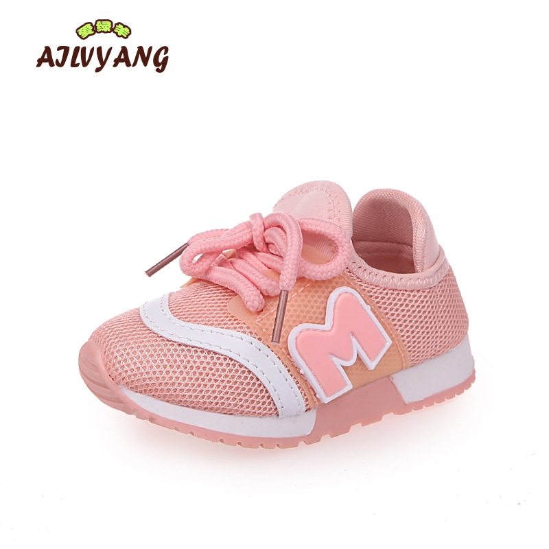Child Spring Summer New Mesh Sneakers Baby Boys Fashion Breathable Sports Shoes Little Girls Lace-Up Flats Shoe Todders Shoe A03