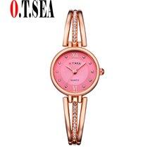 New O.T.SEA Model Trend Rhinestone Watches Ladies Bracelet watches Women Quartz Gown Watches reloj mujer OTS065