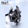 Beier new store 316L Stainless Steel ring high quality snake punk Biker ring for men  fashion jewelry BR8-312