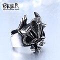 Beier nueva tienda anillo de serpiente de la alta calidad de acero inoxidable 316l punk biker anillo para hombre joyería de moda br8-312