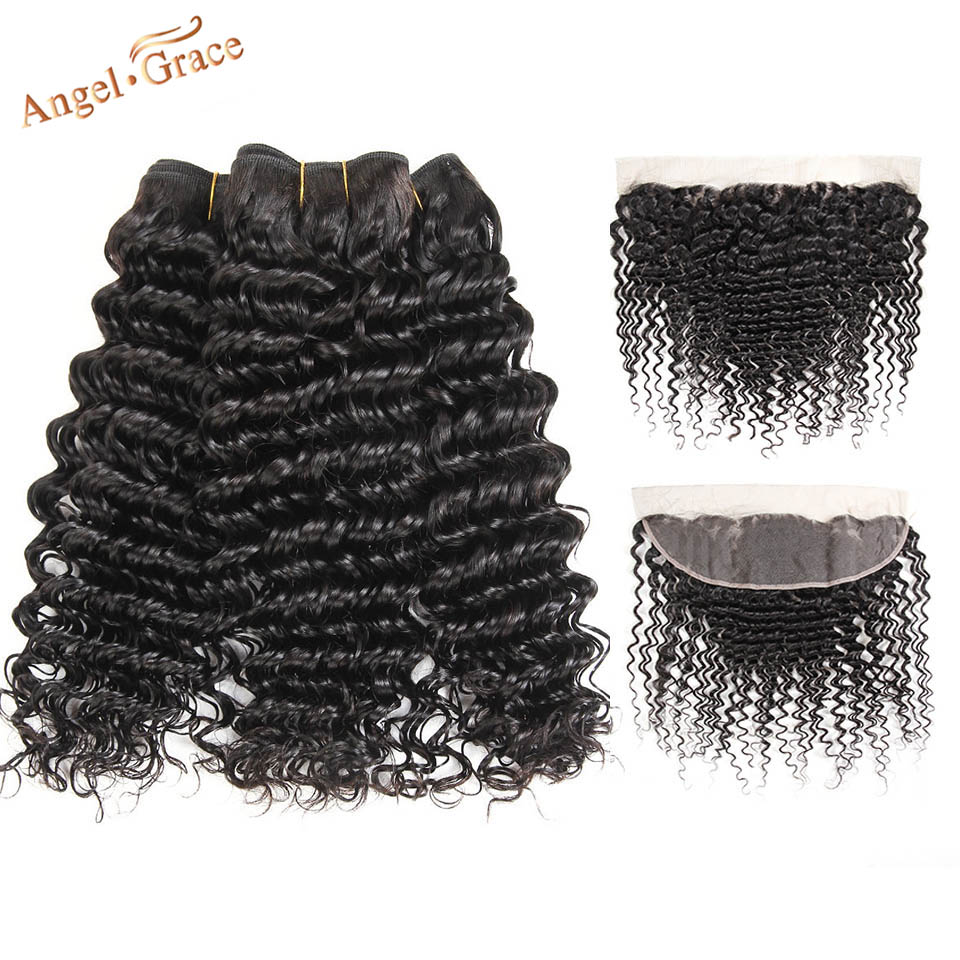 Angel Grace Hair Peruvian Deep Wave 3 Bundles With Frontal Closure Human Hair With Closure Remy