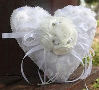 Free Shipping Sweet Heart Shaped White Ring Pillow Wedding Favors Lace Satin Ring Pillow With Bow